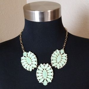 Gold Tone Green Leaf Like Rhinestones Necklace